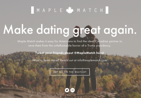maple match canadian dating site donald trump americans leaving for Canada