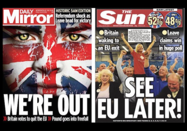 Brexit result newspaper covers w border