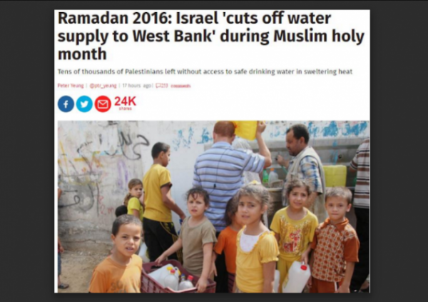 Israel cut water supply The Independent original headline w border