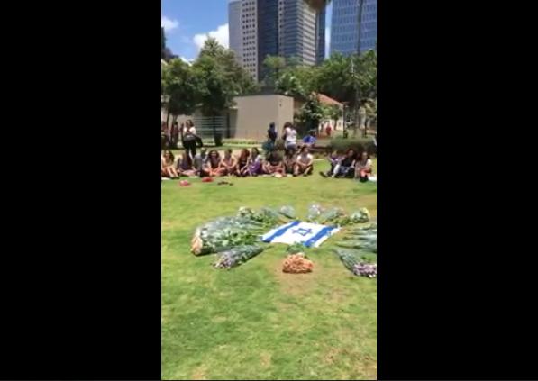 [Tel Aviv attack mourners near Serona Market][Photo credit: Legal Insurrection]