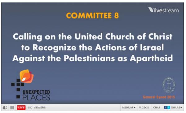 [United Church of Christ 2015 Apartheid Resolution Shown on Screen