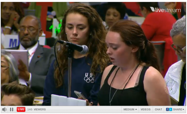 [United Church of Christ Apartheid Resolution Student conveying message from JVP to vote for]