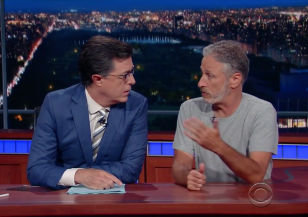 Jon Stewart Reappears, Commandeers Late Show News Desk