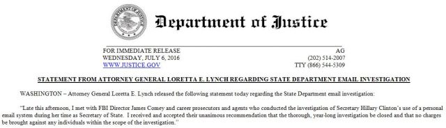 Loretta Lynch Statement No Prosecution Hillary