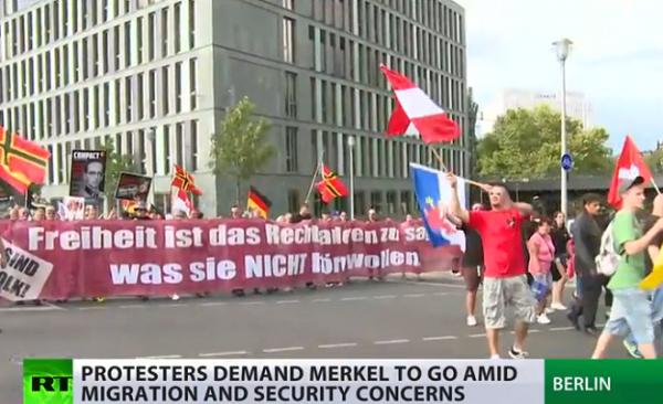 Merkel must go protests in Germany