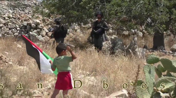 Palestinian child pushed towards soldier video screen shot throwing rock