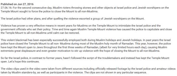 Statement of Temple Institute