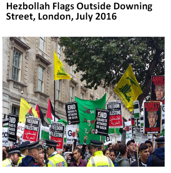 Hezbollah flags on Downing Street london