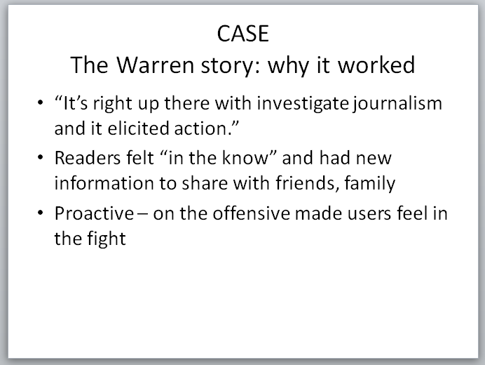 Legal Insurrection Research - Slide - Warren Case Study