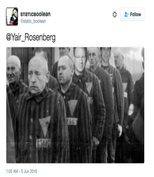 Faces of Journalists Yair Rosenberg and Jeffrey Goldberg are Inserted into this Image