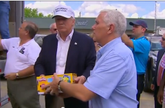 Trump and Pence hand out supplies in LA