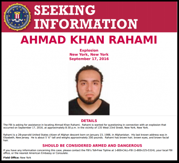 FBI Wanted Poster Ahmad Khan Rahami Chelsea Bombing