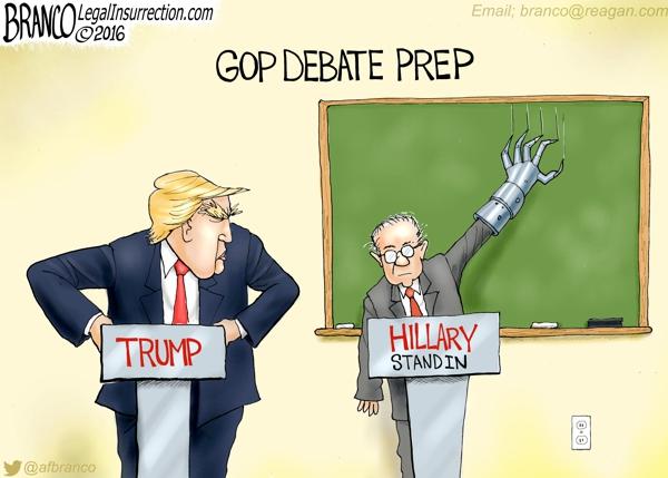 More Debate Prep >> Hillary Trump Debate   A.F. Branco   Political Cartoon