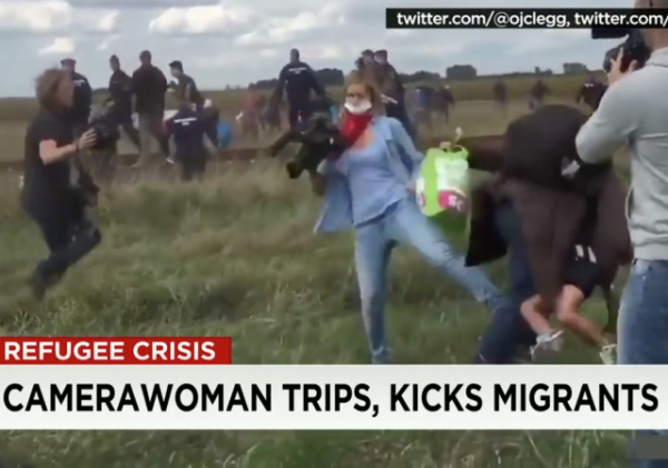 Hungarian Camerawoman Charged For Tripping, Kicking Migrants