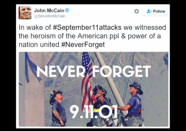 John McCain 9-11 Tweet Photo Ground Zero Raising Flag cropped w border