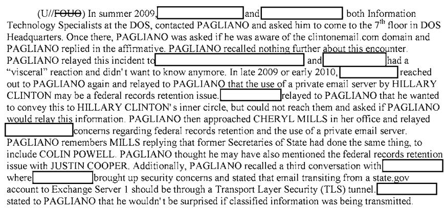 Pagliano Hillary Clinton Emails