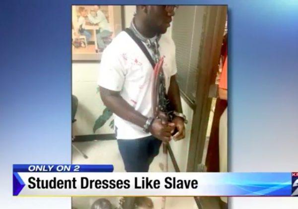 student dresses like slave