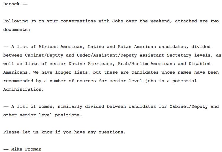 Froman Podesta Obama Email Diversity