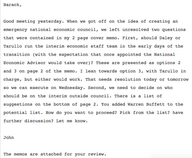 Podesta Obama Email Economic Council