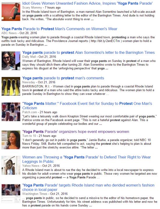 https://news.google.com/news/story?ncl=dV0LCNzqLhqsp1MPtQ_jz527mrRxM&q=yoga+pants+protest&lr=English&hl=en&sa=X&ved=0ahUKEwi01_TSq-_PAhXBGD4KHcCdAEwQqgIIJjAA