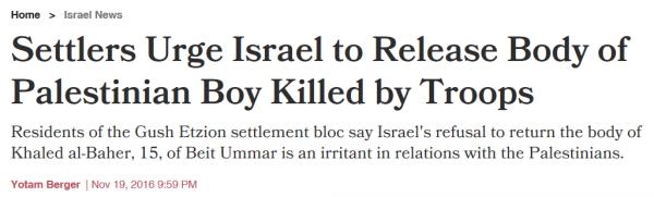 haaretz-headline-settlers-urge-army-to-release-body-of-palestinian-teen
