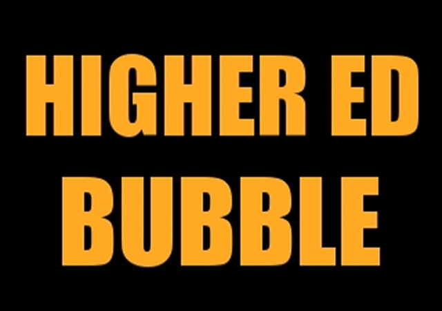 "higher education bubble Glenn reynolds, the author of ""the higher education bubble"", predicts that the bubble will burst ""messily"" the economist explains."