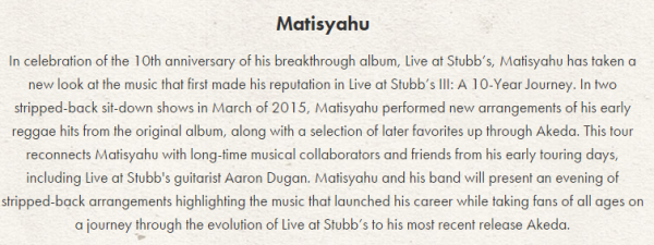 Matisyahu - Ithaca State Street Theater Description
