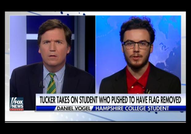 http://insider.foxnews.com/2016/11/21/tucker-carlson-hampshire-college-student-removal-american-flag-burning