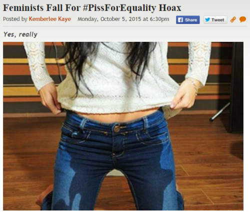 Feminist Piss Equality Hoax Post