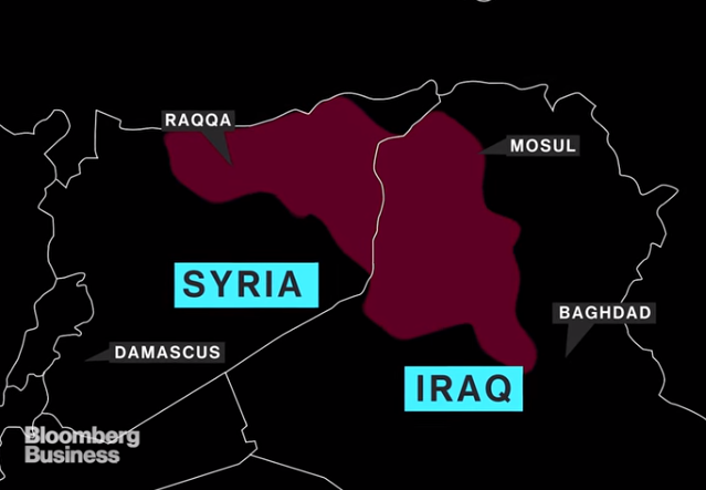 Map ISIS Territory Bloomberg News