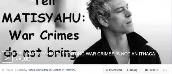 Matisyahu Protest FB Page Ithaca
