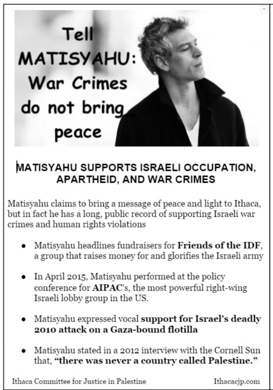 Matisyahu Protest Flyers Ithaca