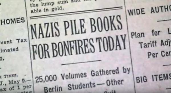 students-burn-books-in-1930s