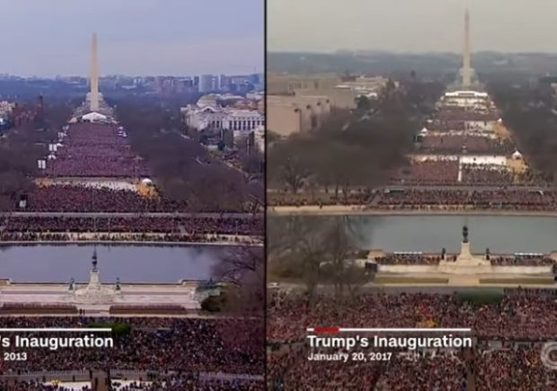 media | comparing crowd size | Trump and Obama inaugurations