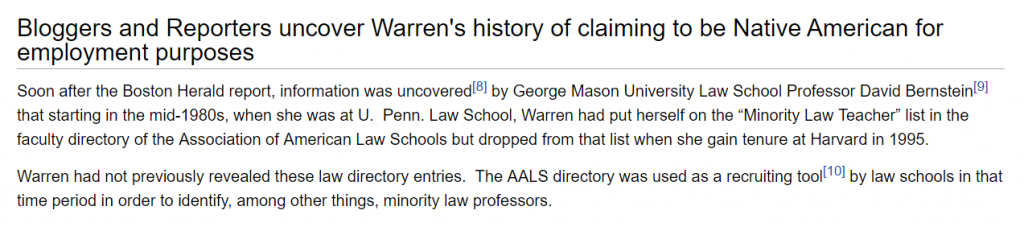 http://elizabethwarrenwiki.org/elizabeth-warren-native-american-cherokee-controversy/#bloggers-and-reporters-uncover-warrens-history-of-claiming-to-be-native-american-for-employment-purposes