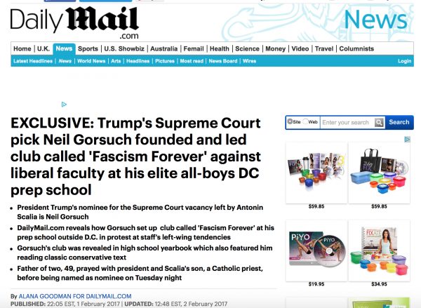 http://www.dailymail.co.uk/news/article-4182852/Trump-s-SCOTUS-pick-founded-club-called-Fascism-Forever.html