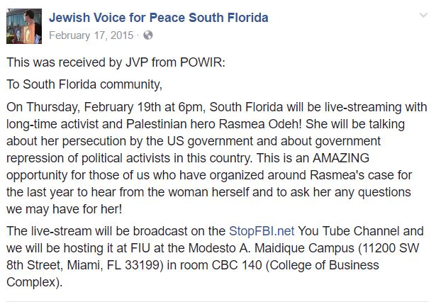 https://www.facebook.com/JVPSouthFlorida/posts/1538572376430300