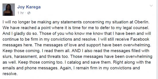 Oberlin Karega FB No more Comment 3-5-2006