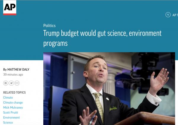https://apnews.com/bf0044e17efd405b80fab237d5ead7ba/Trump-budget-would-gut-science,-environment-programs