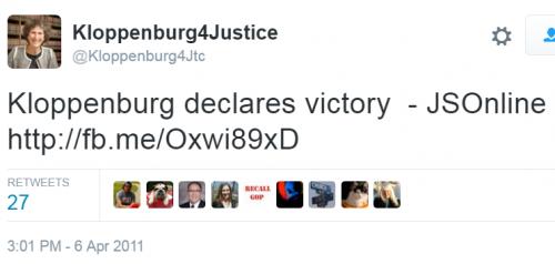 Kloppenburg Declares Victory Tweet 2011