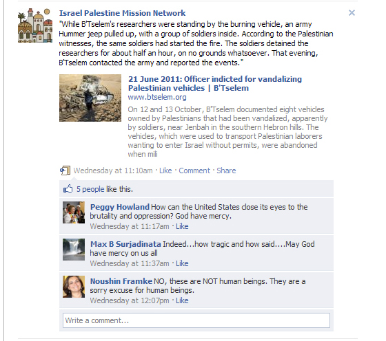 "In one Facebook Post, IPMN leader Noushin Framke stated Israeli soldiers are ""not human beings."""