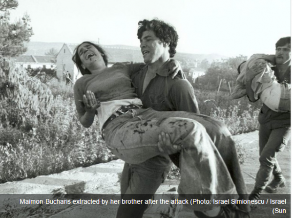 Ma'alot Massacre - Galil Maimon carrying his sister Tzippi after the massacre at Ma'alot