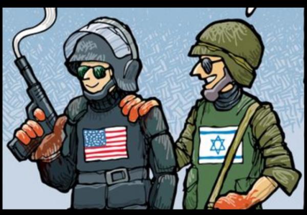 Cartoon Israel US shooting Alton Sterling cropped w border