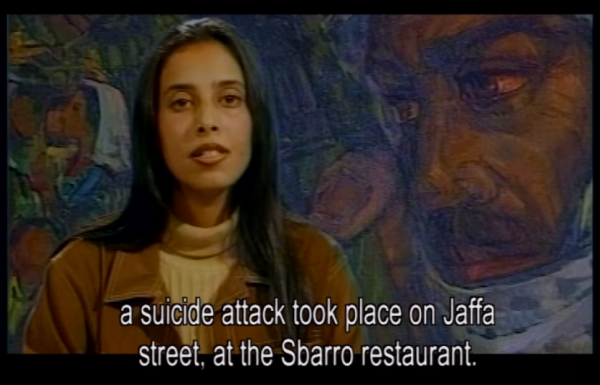 [Ahlam Tamimi announcing Sbarro Pizzeria bombing 2001, via Hot House film]