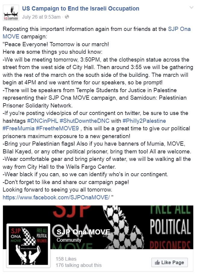 DNC 2016 End the Occupation FB Post SJP Ona MOVE
