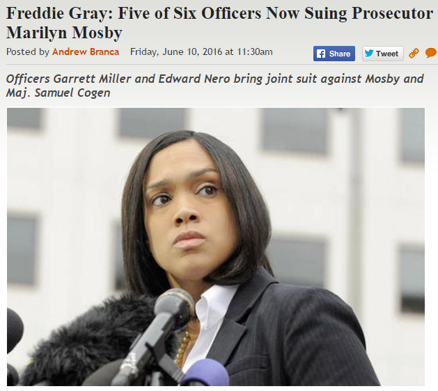 http://legalinsurrection.com/2016/06/freddie-gray-five-of-six-officers-now-suing-prosecutor-marilyn-mosby/