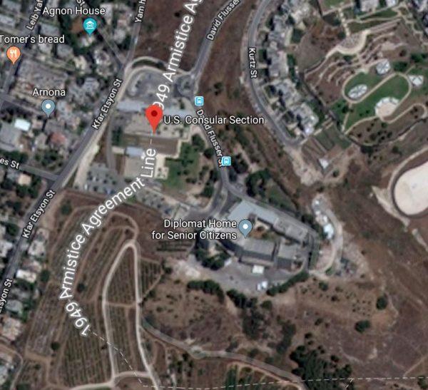 https://www.google.com/maps/place/U.S.+Consular+Section/@31.7468057,35.225795,648m/data=!3m1!1e3!4m5!3m4!1s0x0:0x45970797f2161c03!8m2!3d31.7476116!4d35.2246196