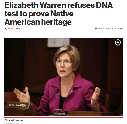 https://nypost.com/2018/03/11/elizabeth-warren-refuses-dna-test-to-prove-native-american-heritage/
