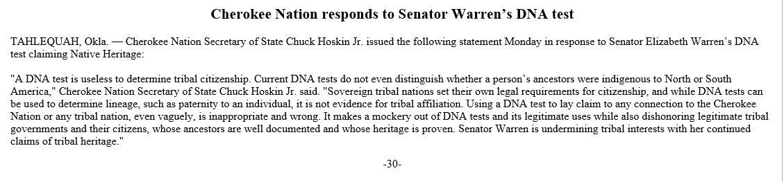 Elizabeth Warren Native American / Cherokee Controversy