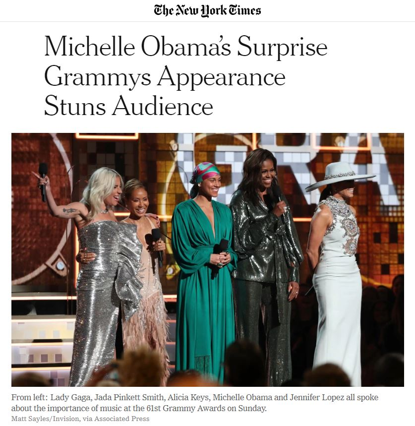 https://www.nytimes.com/2019/02/10/arts/music/michelle-obama-grammys.html